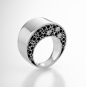 Double Ring: Belle Barer: Silver & Stone Ring - Artful Home