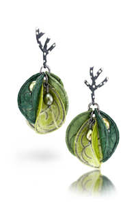 Blossom in Green: Carol Windsor: Silver, Pearl, & Paper Earrings - Artful Home :  shopping earrings designer accessory green