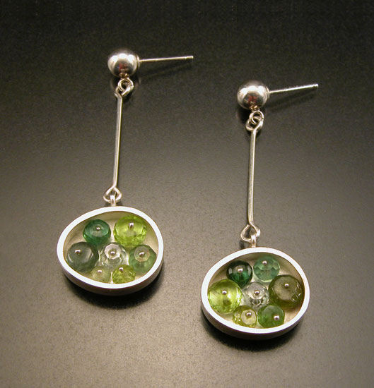 """Small Green Oval Earrings"""