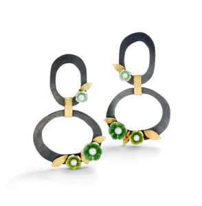 Double Ring with Flowers Earrings: Giselle Kolb: Gold, Silver, & Pearl Earrings - The Artful Home :  shopping jewelry earrings gold