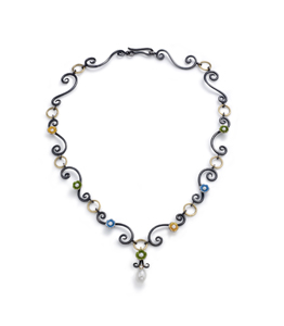 Chandelier Necklace: Giselle Kolb: Gold, Silver, Stone, & Pearl necklace - The Artful Home :  shopping flowers jewelry gold