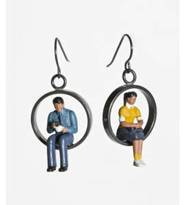 Round Earrings with Figures: Kristin Lora: Metal Earrings - The Artful Home :  designers fine craft figures earrings