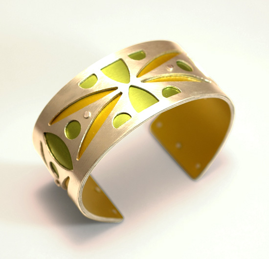 Small Two-Tone  Spear  Cuff - Gold & Lime