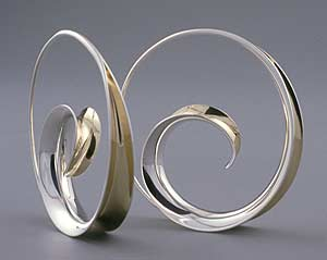 Spiral Earrings: Nancy Linkin: Silver & Gold Earrings - Artful Home