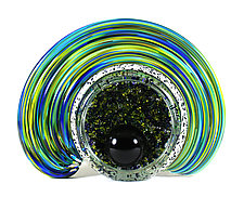 Celestial Geode - Blue and Yellow Mix by Thomas Kelly (Art Glass Sculpture)
