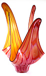 Yellow and Ruby Pyroplasm by Thomas Kelly (Art Glass Sculpture)