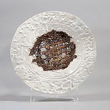 White Platter with Gold Woven Center by Lois Sattler (Ceramic Platter)