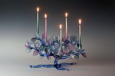 Cobalt Tree of Life Menorah with Lavender and Teal Leaves by Bandhu Scott Dunham (Art Glass Menorah)
