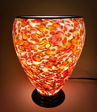 Red & White Lamp by Curt Brock (Art Glass Table Lamp)