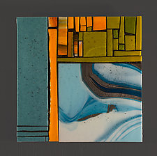 Steel Blue III by Vicky Kokolski and Meg Branzetti (Art Glass Wall Sculpture)
