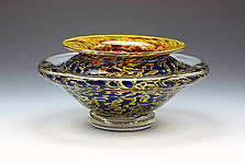 Ikebana Bowl (Opaque Silver Blue) by Danielle Blade and Stephen Gartner (Art Glass Vase)