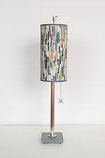 Copper Table Lamp with Small Tube Shade in Papers by Janna Ugone and Justin Thomas (Mixed-Media Table Lamp)