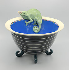 Jackson's Chameleon Striped Bowl on Five Teal Legs by Lisa Scroggins (Ceramic Bowl)