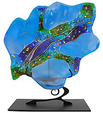 Large Turquoise Leaf on Stand by Karen Ehart (Art Glass Sculpture)