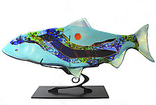 Sea Glass Moon Fish Sculpture by Karen Ehart (Art Glass Sculpture)