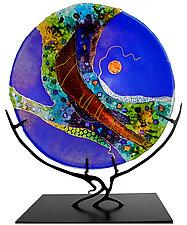 Sapphire Moon by Karen Ehart (Art Glass Sculpture)