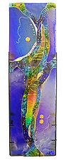 Sapphire Moon Panel by Karen Ehart (Art Glass Wall Sculpture)