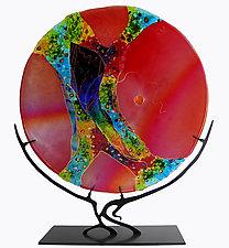 Ruby Moon by Karen Ehart (Art Glass Sculpture)