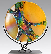 Amber Moon by Karen Ehart (Art Glass Sculpture)