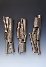Scrolls in Bronze Trio II by Lenore Lampi (Ceramic Wall Sculpture)