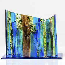Blue Arc by Varda Avnisan (Art Glass Sculpture)