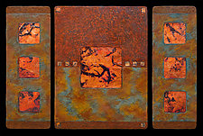 Earth and Fire: Sage M Triptych by Kara Young (Mixed-Media Wall Hanging)
