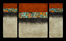 Canyon Walls: OBC M+ Triptych by Kara Young (Mixed-Media Wall Hanging)