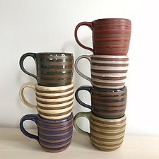 Stripe Mug by Louise Bilodeau (Ceramic Mug)