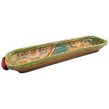 Annabelle's Garden Long Boat by Laurie Pollpeter Eskenazi (Ceramic Tray)