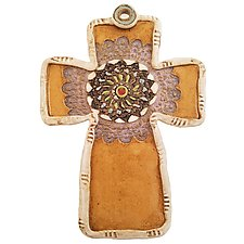 Black Medallion Cross by Laurie Pollpeter Eskenazi (Ceramic Wall Sculpture)
