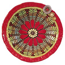 Daisy Bowl in Red by Laurie Pollpeter Eskenazi (Ceramic Bowl)