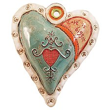 Hearts for Haiti White Rim by Laurie Pollpeter Eskenazi (Ceramic Wall Sculpture)