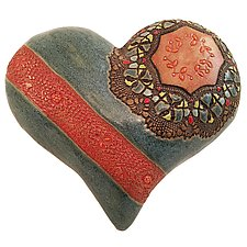 Nancy's Blue Heart by Laurie Pollpeter Eskenazi (Ceramic Wall Sculpture)