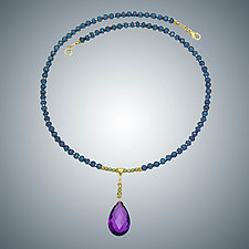 Amethyst and London Blue Necklace by Judy Bliss (Gold & Stone Necklace)