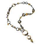 Black and Gold Plumb Bob Treasure by Suzanne Q Evon (Gold & Silver Necklace)
