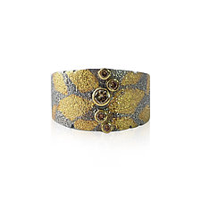 Dahlia Pattern Band with 5 Diamonds by Jenny Reeves (Gold, Silver & Stone Ring)