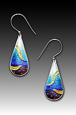 Blue Monochrome Teardrop Earrings by Anna Tai (Enameled Earrings)