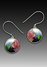 Pink Rose Circle Earrings by Anna Tai (Enameled Earrings)