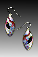 Pink and Purple Swirl Marquise Earrings by Anna Tai (Enameled Earrings)
