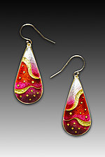 Red Monochrome Teardrop Earrings by Anna Tai (Enameled Earrings)