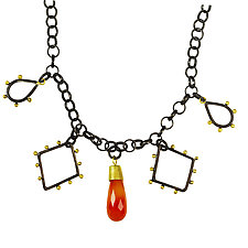 Spark and Fire Necklace by Nancy Troske (Gold, Silver & Stone Necklace)