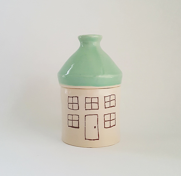 Small Porcelain Canister with House Design