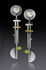 Pinwheel Blade Earrings by Michele LeVett (Gold, Silver & Stone Earrings)
