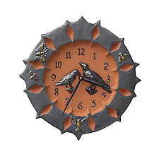 Ravens Ceramic Wall Clock in Terracotta and Metal Glaze by Beth Sherman (Ceramic Clock)