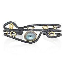 Rapids Cuff Bracelet with Oval Moonstone by Rona Fisher (Gold, Silver & Stone Bracelet)