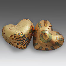 Pair of Heart in Hand Rattles by Valerie Seaberg (Ceramic Sculpture)