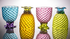 Set of Four of Small Pineapple Glasses by Andrew Iannazzi (Art Glass Drinkware)