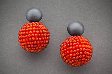 Carnelian Orb Earrings with Oxidized Silver by Julie Long Gallegos (Beaded Earrings)