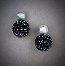 Black Spinel and Silver Orb Earrings by Julie Long Gallegos (Beaded Earrings)