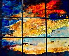Sunset in Nine Panels by Cynthia Miller (Art Glass Wall Sculpture)